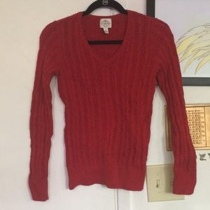 St. John's Bay Red Cable-knit V-Neck Sweater Red